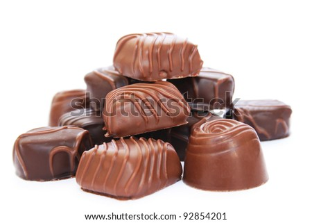 Chocolate isolated on white background. - stock photo