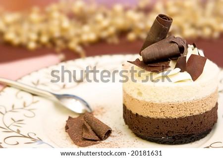 Chocolate Layered Mousse Cake - stock photo