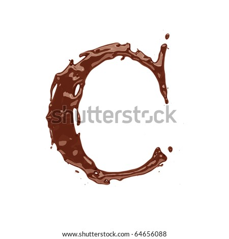 Chocolate letter C isolated on white background - stock photo