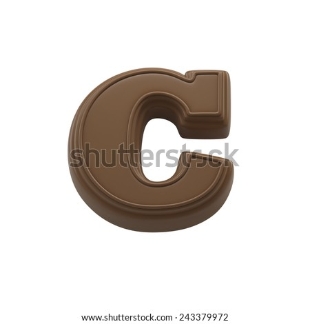 Chocolate letter C. Sweet candy font for celebration. Made in 3D.