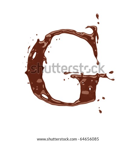 Chocolate letter G isolated on white background - stock photo