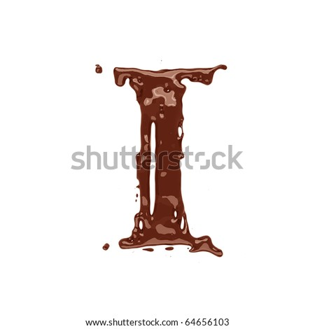 Chocolate letter I isolated on white background - stock photo