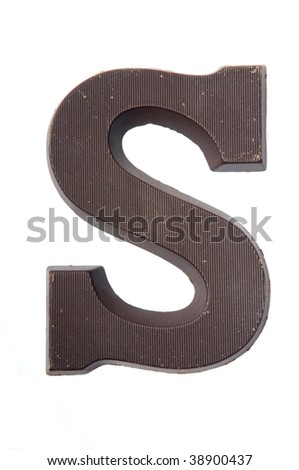 Chocolate letter in the form of an S. Used very often in country's where they celebrate Sinterklaas. Kids get the first letter of their name. S also stands for Sinterklaas. - stock photo
