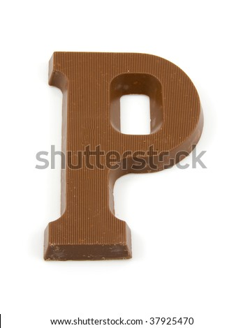 Chocolate letter P for Sinterklaas, event in the Dutch in december - stock photo