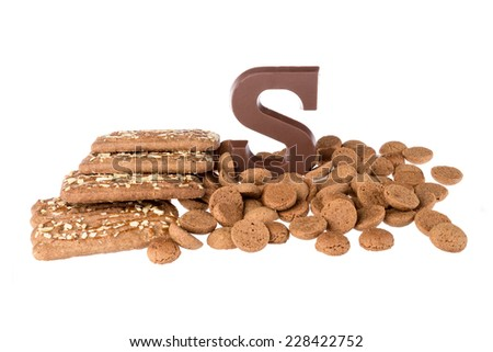 Chocolate letter, speculaas and ginger nuts, Dutch sweets at 5 december Sinterklaas party - stock photo