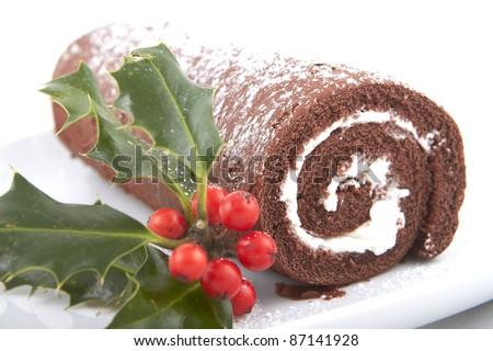 Chocolate log - stock photo