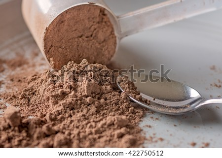 Chocolate meal replacement shake powder - stock photo