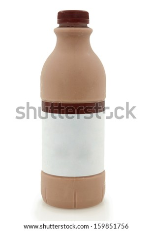 Chocolate Milk Bottle Isolated On White Background - stock photo