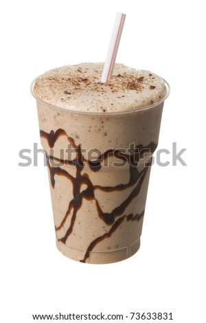 Chocolate milk shake in a plastic cup isolated on white - stock photo