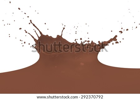 chocolate milk splash isolated on white background - stock photo