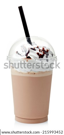 Chocolate milkshake covered with whipped cream in plastic glass isolated on white background - stock photo