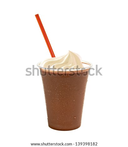 Chocolate milkshake in takeaway cup on white background