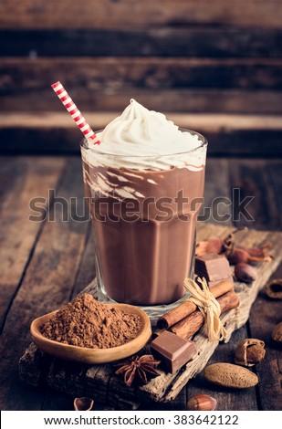 Chocolate milkshake with whipped cream - stock photo