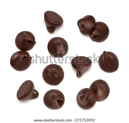 Chocolate morsels on white background - stock photo