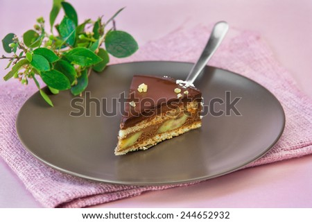Chocolate mousse cake with banana and ginger