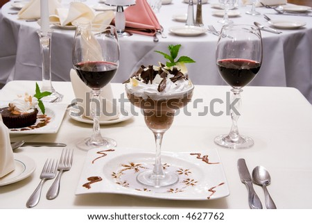 Chocolate mousse dessert on banquet table - stock photo