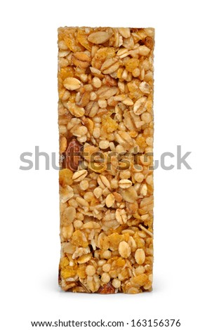 Chocolate Muesli Bar isolated on white background  - stock photo