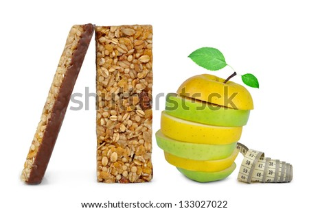 Chocolate Muesli Bars with apple mix isolated on white background - stock photo