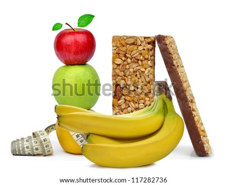 Chocolate Muesli Bars with fruits - stock photo