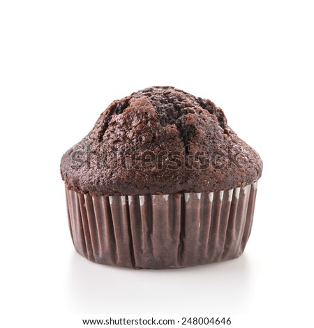Chocolate muffin cake isolated on white background