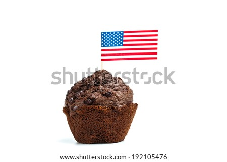Chocolate muffin cake with american flag - 4th of july concept - isolated on white - stock photo