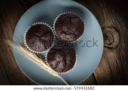 Chocolate muffin on dark background. Shallow depth of field.