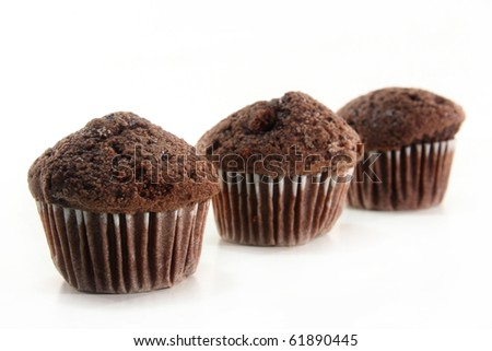 Chocolate Muffins on a white background