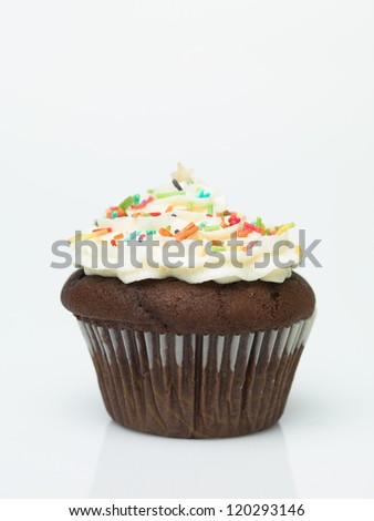 Chocolate muffins with icing and colorful sprinkles