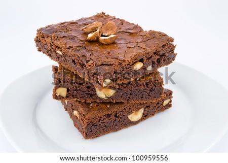 chocolate nut brownies - stock photo