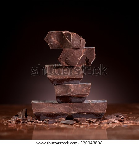Chocolate on a dark marble background