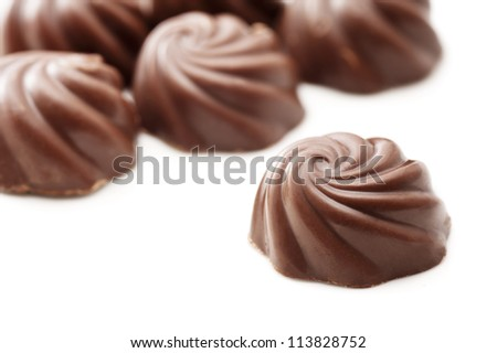 Chocolate on white background