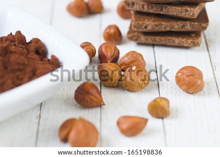 chocolate on white wooden table