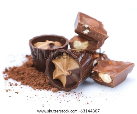 Chocolate over white - stock photo
