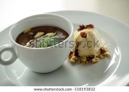 Chocolate parfait with ice cream, served in a cup