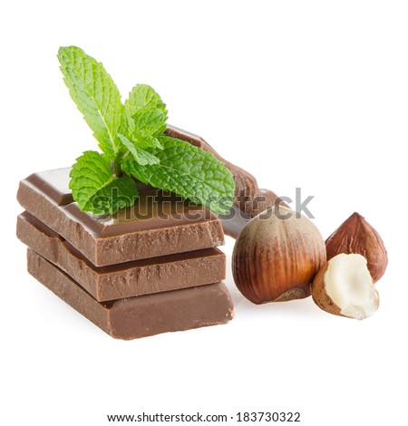 Chocolate parts and cinnamon sticks isolated on white background. - stock photo