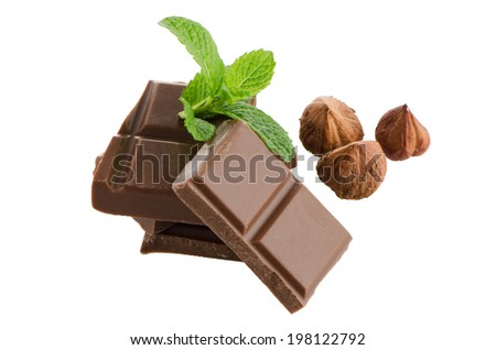 Chocolate parts and cinnamon sticks isolated on white background.
