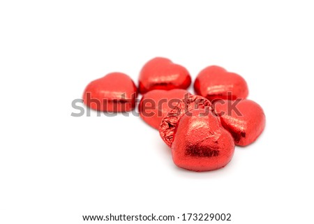 Chocolate pieces as a symbol of love.Valentine's day concept - stock photo