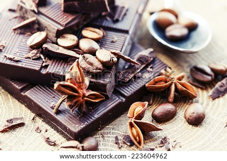 Chocolate pieces. Chopped dark chocolate closeup - stock photo