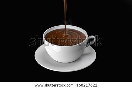 chocolate poured into the cup, on a black background - stock photo