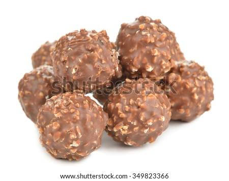 Chocolate pralines isolated on white background - stock photo