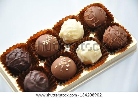 chocolate pralines truffles - stock photo