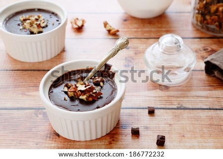 chocolate pudding in baking dish, sweet food