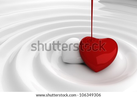 Chocolate red heart in hot chocolate - stock photo