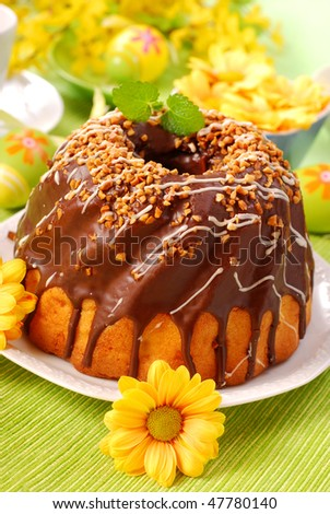 chocolate ring cake with nuts for easter