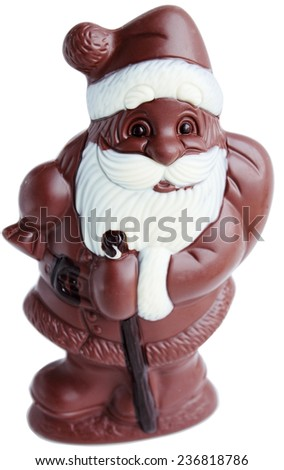 Chocolate Santa Claus with a bag on a white background - stock photo