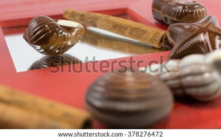 Chocolate seashells pralines on red wooden background