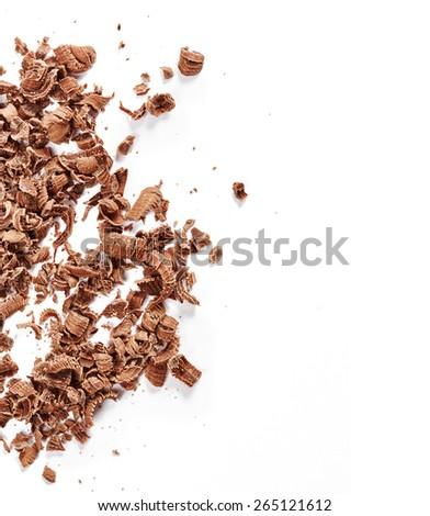 Chocolate shavings isolated on white background - stock photo