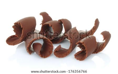 Chocolate shavings on white background  - stock photo
