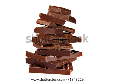 Chocolate slices white background