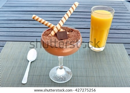 Chocolate smoothie in glass